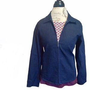 Eileen Fisher dark denim zip up jacket siz…